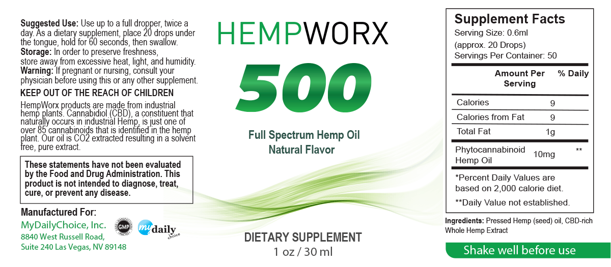 hempworx 500 cbd oil ingredients